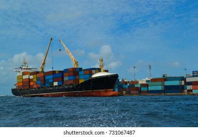 Port with ship and containers