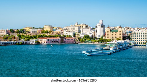 Port and skyline of San Juan, Puerto Rico. Panoramic landscape view.