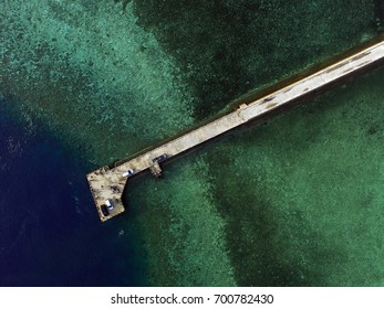 Port skyview, aerial view in one of dive spot in Indonesia, Wakatobi