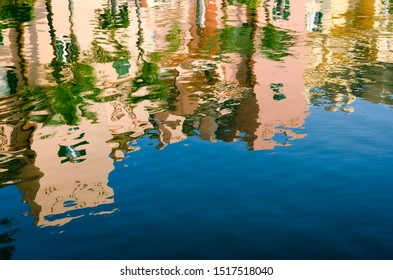 Port of Sotogrande. Port, sea, yachts and colorful houses in abstract reflection
