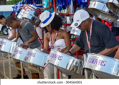 PORT OF SPAIN, TRINIDAD - August 9: Band members practice outside the venue of the International Steelband Panorama Contest , August 9, 2015 in Queen's Park Savannah Port of Spain,Trinidad.