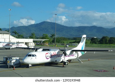 Port of Spain, Trinidad, dated 20 Jan 2019. Caribbean Airlines is the state-owned airline and flag carrier of Trinidad and Tobago. Caribbean flight ready for the journey.