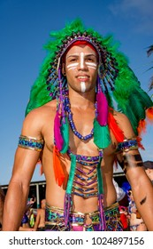 PORT OF SPAIN, TRINIDAD - February 13:  A male Masquerader enjoys himself in the Harts Carnival presentation-Shimmer and Lace-, February 13, 2018 on the streets of Port of Spain, Trinidad.