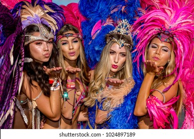PORT OF SPAIN, TRINIDAD - February 13:  Masqueraders enjoy themselves in the Harts Carnival presentation-Shimmer and Lace-, February 13, 2018 on the streets of Port of Spain, Trinidad.