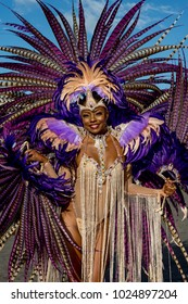 PORT OF SPAIN, TRINIDAD - February 13:  Wendy Fitzwilliam, Miss Universe 1998 in the Harts Carnival presentation-Shimmer and Lace-, February 13, 2018 on the streets of Port of Spain, Trinidad.