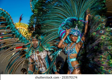 PORT OF SPAIN, TRINIDAD - February 17: Masqueraders enjoy  themselves in the Harts Carnival presentation-Dominion of the sun-, February 17, 2015 on the streets of Port of Spain, Trinidad.
