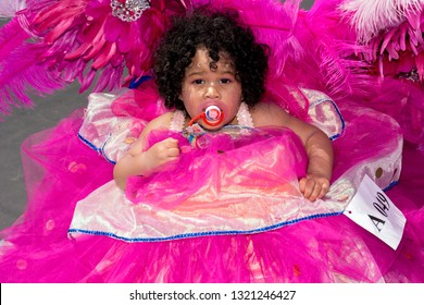 PORT OF SPAIN, TRINIDAD - February 23: Reign Noreiga 11 Months enjoys herself in The Trinidad Red Cross 2019 Children's Carnival, February 23, 2019 in Port of Spain, Trinidad.
