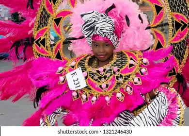 PORT OF SPAIN, TRINIDAD - February 23: Sermia Harris 8 years enjoys herself in The Trinidad Red Cross 2019 Children's Carnival, February 23, 2019 in Port of Spain, Trinidad.