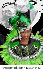 PORT OF SPAIN, TRINIDAD - February 23: Shaziah Jaggasar 7 years enjoys herself in The Trinidad Red Cross 2019 Children's Carnival, February 23, 2019 in Port of Spain, Trinidad.