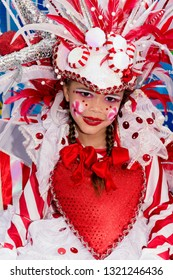 PORT OF SPAIN, TRINIDAD - February 23: Chloe Mendes 8 years enjoys herself in The Trinidad Red Cross 2019 Children's Carnival, February 23, 2019 in Port of Spain, Trinidad.
