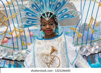 PORT OF SPAIN, TRINIDAD - February 23: Netanya Phillip 9 years enjoys herself in The Trinidad Red Cross 2019 Children's Carnival, February 23, 2019 in Port of Spain, Trinidad.