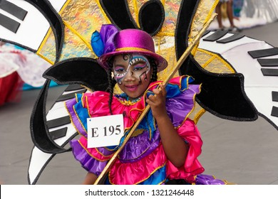 PORT OF SPAIN, TRINIDAD - February 23: Malia Pierre-Louis 6 years enjoys herself in The Trinidad Red Cross 2019 Children's Carnival, February 23, 2019 in Port of Spain, Trinidad.