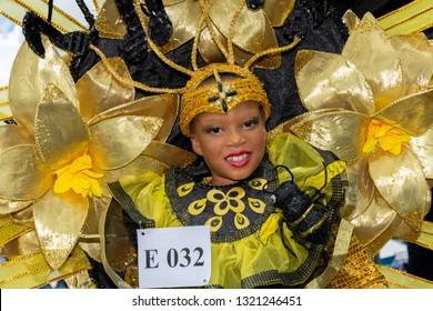 PORT OF SPAIN, TRINIDAD - February 23: N'Seya McKie 8 years enjoys herself in The Trinidad Red Cross 2019 Children's Carnival, February 23, 2019 in Port of Spain, Trinidad.