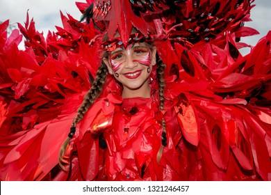 PORT OF SPAIN, TRINIDAD - February 23: Victoria Carvalho 8 years enjoys herself in The Trinidad Red Cross 2019 Children's Carnival, February 23, 2019 in Port of Spain, Trinidad.