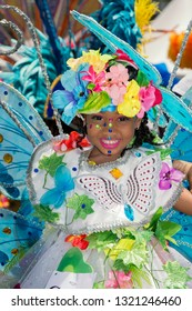PORT OF SPAIN, TRINIDAD - February 23: Xynai Rameshwar 4 years enjoys herself in The Trinidad Red Cross 2019 Children's Carnival, February 23, 2019 in Port of Spain, Trinidad.