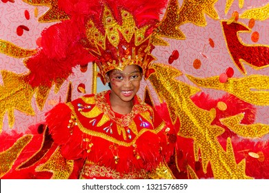PORT OF SPAIN, TRINIDAD - February 23: Jendayi Ockille 7 years enjoys herself in The Trinidad Red Cross 2019 Children's Carnival, February 23, 2019 in Port of Spain, Trinidad.