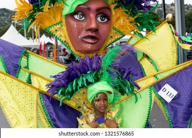 PORT OF SPAIN, TRINIDAD - February 23: Masai Thomas 8 years enjoys herself in The Trinidad Red Cross 2019 Children's Carnival, February 23, 2019 in Port of Spain, Trinidad.