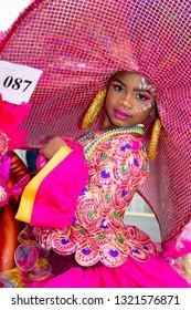 PORT OF SPAIN, TRINIDAD - February 23: Kaliah Noel 7 years enjoys herself in The Trinidad Red Cross 2019 Children's Carnival, February 23, 2019 in Port of Spain, Trinidad.