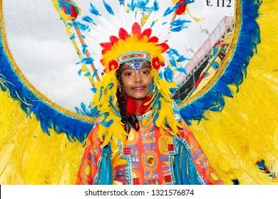 PORT OF SPAIN, TRINIDAD - February 23: Korrie Cario 8 years enjoys herself in The Trinidad Red Cross 2019 Children's Carnival, February 23, 2019 in Port of Spain, Trinidad.