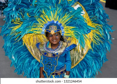 PORT OF SPAIN, TRINIDAD - February 23:Zendayah Mills 5 years enjoys herself in The Trinidad Red Cross 2019 Children's Carnival, February 23, 2019 in Port of Spain, Trinidad.