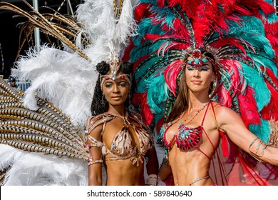 PORT OF SPAIN, TRINIDAD - February 28:  Masqueraders enjoy themselves in the Harts Carnival presentation-Ultraviolet Jungle-, February 28, 2017 on the streets of Port of Spain, Trinidad.
