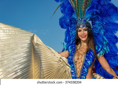 PORT OF SPAIN, TRINIDAD - February 9: A Female Masquerader enjoys herself in the Harts Carnival presentation-Vogue-, February 9, 2016 on the streets of Port of Spain, Trinidad.
