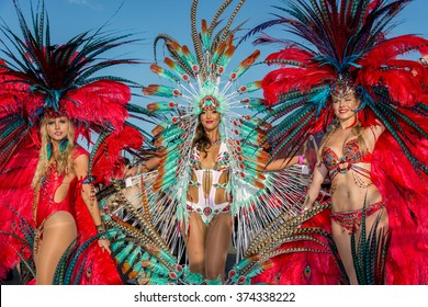 PORT OF SPAIN, TRINIDAD - February 9: Female Masqueraders enjoys themselves in the Harts Carnival presentation-Vogue-, February 9, 2016 on the streets of Port of Spain, Trinidad.