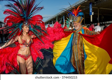 PORT OF SPAIN, TRINIDAD - February 9:  Masqueraders enjoy themselves in the Harts Carnival presentation-Vogue-, February 9, 2016 on the streets of Port of Spain, Trinidad.