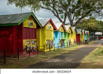 PORT OF SPAIN, TRINIDAD  January 20: Newly constructed vendor booths around the Queens Park Savannah for carnival 2016, January 20, 2016 Port of Spain, Trinidad.