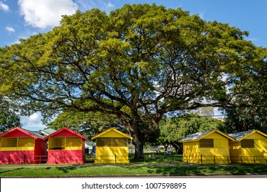 PORT OF SPAIN, TRINIDAD  January 22: Newly constructed vendor booths around the Queens Park Savannah for carnival 2018, January 22, 2018 Port of Spain, Trinidad.