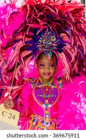PORT OF SPAIN, TRINIDAD - JANUARY 30: Amirah Jemmott 4 years enjoys herself in The Trinidad Red Cross 2016 Children's Carnival, January 30, 2016 in Port of Spain, Trinidad.