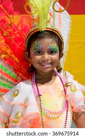 PORT OF SPAIN, TRINIDAD - JANUARY 30: Leighara Cameron 2 years enjoys herself in The Trinidad Red Cross 2016 Children's Carnival, January 30, 2016 in Port of Spain, Trinidad.