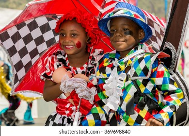 PORT OF SPAIN, TRINIDAD - JANUARY 30: J'Nai Edwards and Kobe Solomon 7 years enjoy The Trinidad Red Cross 2016 Children's Carnival, January 30, 2016 in Port of Spain, Trinidad.
