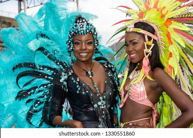 PORT OF SPAIN, TRINIDAD – March 5:  Masqueraders enjoy themselves in the Harts Carnival presentation-Legendary-, March 5, 2019 in Port of Spain, Trinidad.
