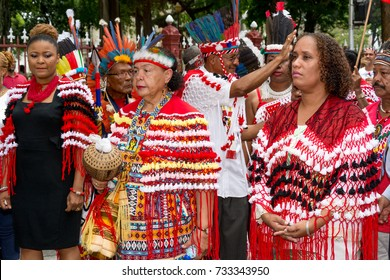 PORT OF SPAIN, TRINIDAD – October12:  First peoples' ceremonial walk, October12, 2017 on the streets of Port of Spain, Trinidad.