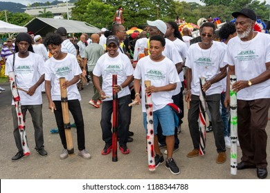 PORT OF SPAIN, TRINIDAD - September 23 2018: Masqueraders enjoy themselves in the Launch of Carnival 2019, in Queen's Park Savannah Port of Spain, Trinidad.