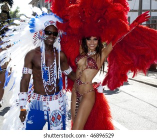 PORT OF SPAIN,TRINIDAD - FEBRUARY 16:  Masqueraders enjoy themselves in the Harts Carnival presentation '50', February 16, 2010 in Port of Spain, Trinidad.