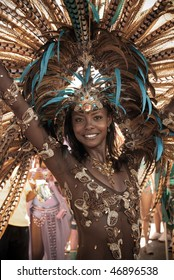 PORT OF SPAIN,TRINIDAD - FEBRUARY 16: Wendy Fitzwilliam, Miss Universe 1998, enjoys herself in the Harts Carnival presentation '50', February 16, 2010 in Port of Spain, Trinidad.