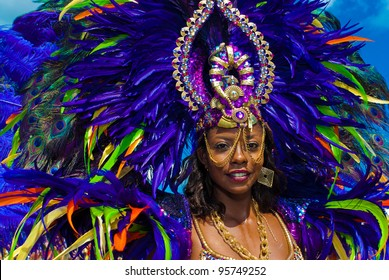 PORT OF SPAIN,TRINIDAD,FEBRUARY 21: Wendy Fitzwilliam, Miss Universe 1998, enjoys herself in the Harts Carnival presentation 'Pantheon, February 21, 2012 in Port of Spain, Trinidad.