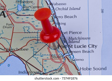 Port St Lucie City, Florida, St. Lucie County in the United States of America marked on map with red pushpin. Vero Beach can also be seen on map.