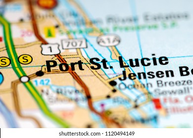 Port St. Lucie. Florida. USA on a map