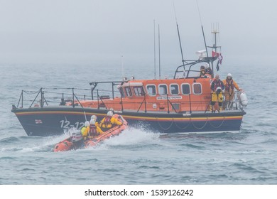 Port St. Mary, Isle of Man, Great Britain,  August, 8th, 2019. Lifeboat in Action at Port St. Mary Lifeboat Day