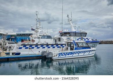 Port Stephens, NSW / Australia - November 05 2019: Police boats docked in harbour at Port Stephens