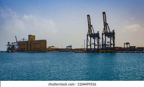 Port Sudan, Sudan - April 2018. Crane in the port.