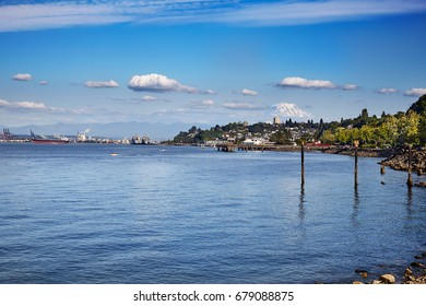 Port of Tacoma with Mount Rainier in the background in beautiful Commencement Bay