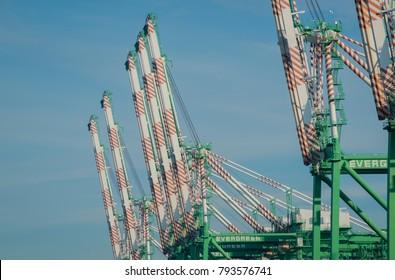 Port of Tacoma, Washington / United States - January 14, 2018: Dock cranes