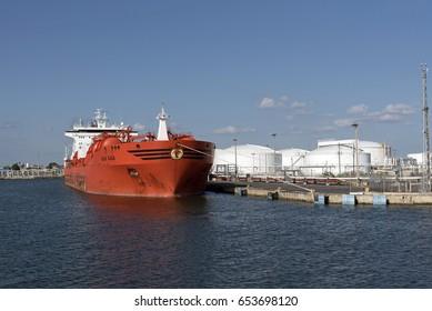 Port of Tampa Florida USA. The chemical tanker Bow Saga alongside the dock.April 2017