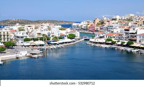 port and the town of Agios Nikolaos, Greece, Europe