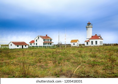 Port Townsend, WA, USA - October 11, 2015: The Point Wilson Lighthouse is an active aid to navigation located in Fort Worden State Park near Port Townsend, Jefferson County, Washington State.