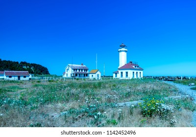 Port Townsend, Washington / USA - June 22, 2018: The Point Wilson Lighthouse in Port Townsend, Washington.